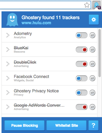 Blocking Page Elements with Ghostery