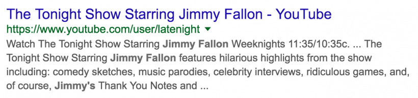 Jimmy Fallon YouTube Meta Description After Google Update