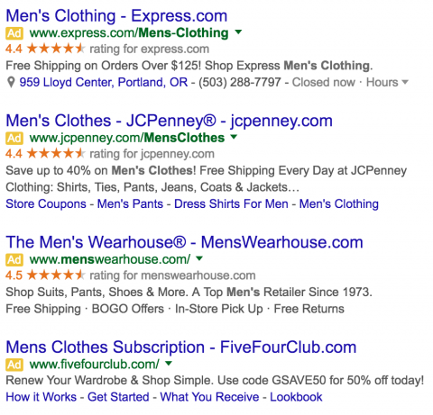 Men's Clothing PPC Ads in the SERPS After Google Update