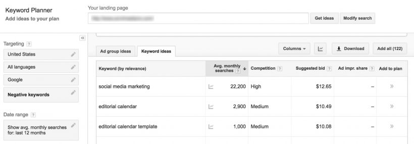 Using Keyword Planner for Navigation Menu Keyword Research