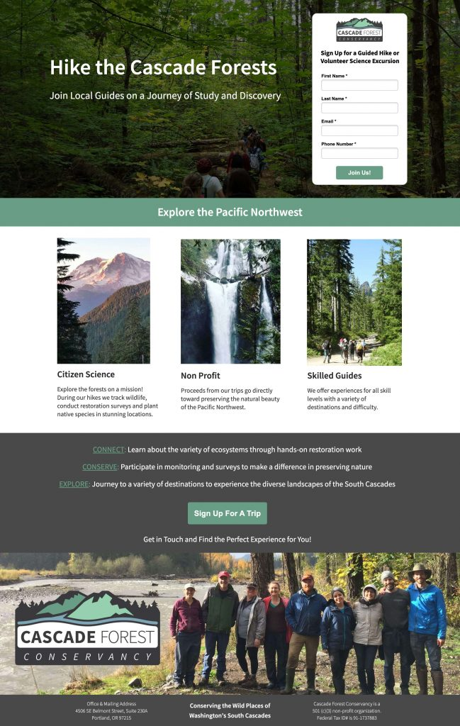 cascade forests landing page screenshot