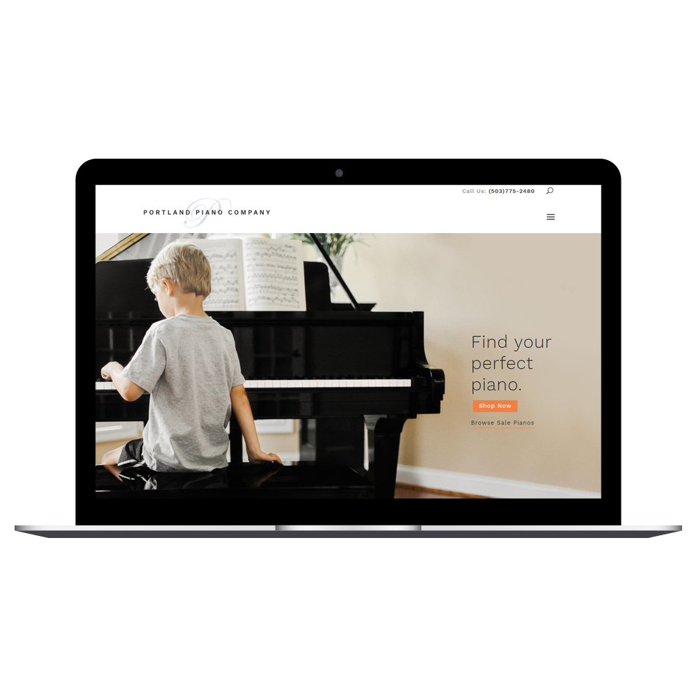 Portland Piano Company website displayed on a computer