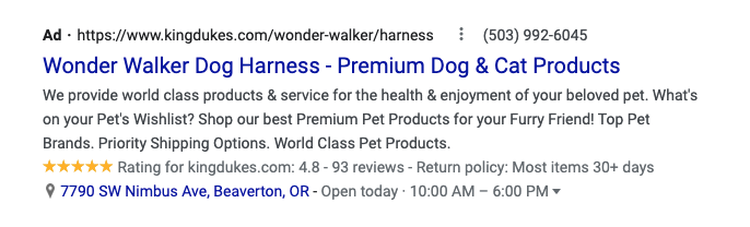 This image has an empty alt attribute; its file name is google-ad-for-pet-store.png