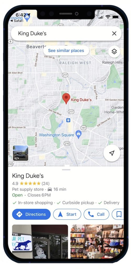 google map of local pet store